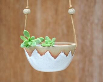 SUNSET HANGING PLANTER - Wheel Thrown - Milky White Glaze - Handmade Beads