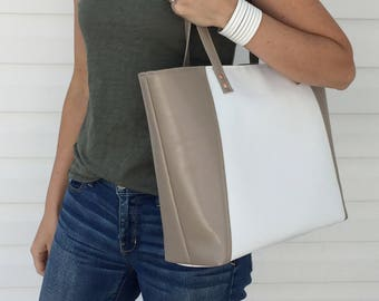 Nude White / Vegan Leather Tote / Vegan Bag / Vegan Tote / Vegan Leather Bag / Wedding Tote / Leather Tote / Vegan Leather Shoulder Bag