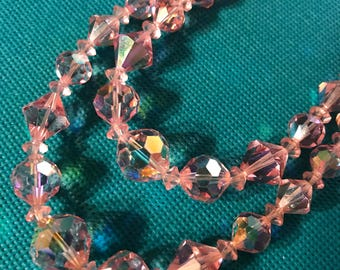1950's Vintage Pink Aurora Borealis Crystal Bead double strand Necklace