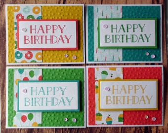 Birthday Card Set, Assorted Stampin Up Birthday Cards, Bright Stamped and Embossed Birthday Card Set, Birthday Cards for Him or Her, Cupcake
