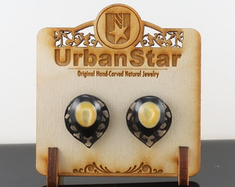 "Hand Carved- ""Victorian Crest"" - Horn with Mother of Pearl Inlay Stud Earring - Urban Star Original"