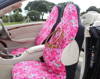 Me-Mo pair of Front Car Seat Covers: Pink Poppies