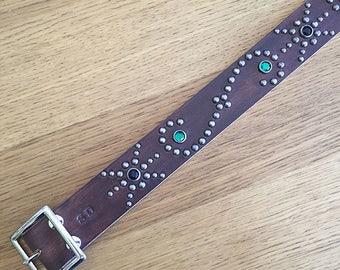 "Black leather rockabilly studded western belt ""rock-a-billy"""