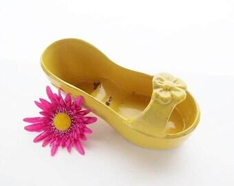 Vintage Yellow Shoe / Sandle Planter
