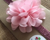 "3.75"" Light Pink Chiffon Flower Headband - Oversized Large Pink Flower w. Pink Glitter and Sparkle FOE Fold Over Elastic"