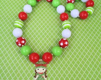 Elf Necklace, Christmas Elf Chunky Necklace, Girl Elf Bubblegum Necklace, Kids Christmas Necklace, Baby Christmas Necklace, Toddler