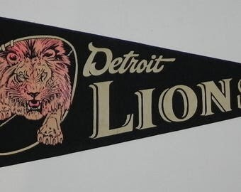 1950's Detroit Lions Full Sized Briggs Stadium Pennant - Early NFL Football Memorabilia