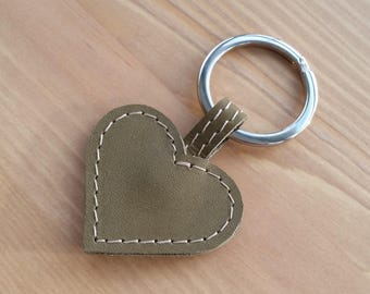 Leather heart keyring, olive green heart bag charm