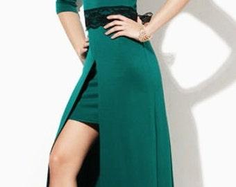 Emerald maxi dress Dress with  bow Autumn dress Wedding dress Occasion  dress Prom  dress Bridesmaids emerald dresses Green Double skirt