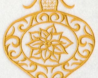 Filigree Ornament with Poinsettia, Embroidered flour sack towel, tea towel, hand towel or dish towel