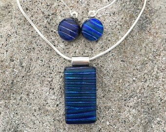 Jewelry Set in blue   Dichroic glass necklace and earring set   Jewelry gift set 121-S