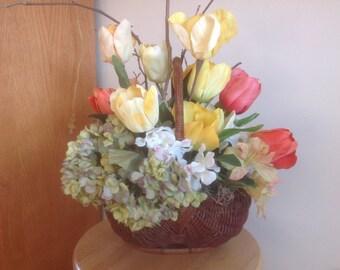 Spring Garden Basket, Mothers Day Cottage Basket, Farmhouse, Woodland Rustic Basket, Tulips & Hydrangeas Done In A Natural Wicker Basket
