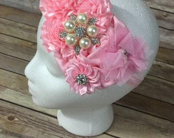 Light pink over the top flower headband