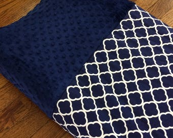 Made to Order Changing Pad Cover with navy blue quatrefoil and navy blue minky