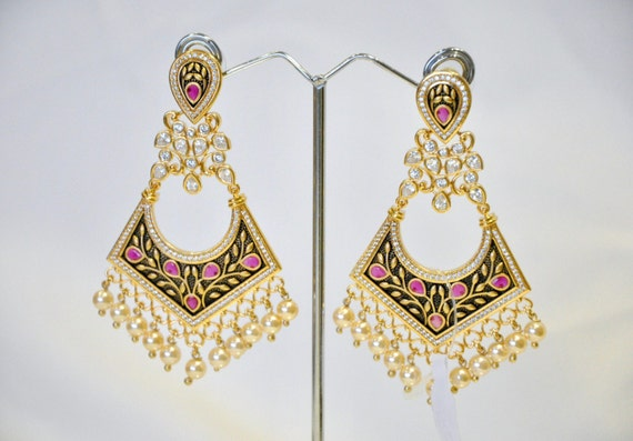 Oxidised gold mughal style contemporary Kundan Earrings with faux pearls and uncut American Diamonds | Indian Jewelry | Indian Earrings |