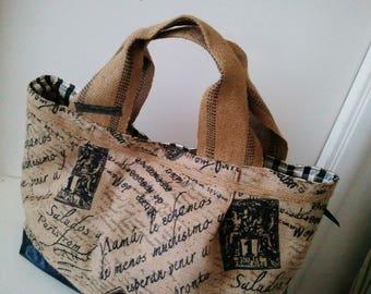 Handmade jute bag for summer, handle bag,