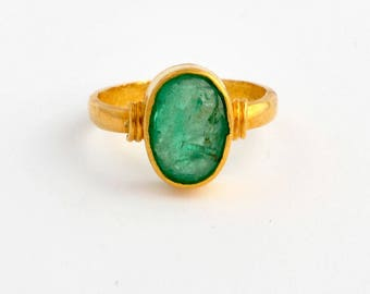 A beautiful old 1.6 carat emerald ring from the deep