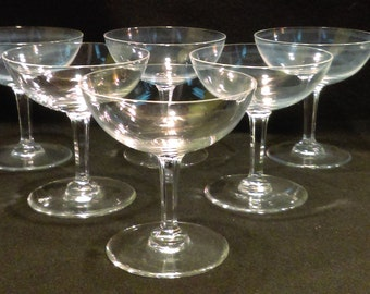 Set of 6 Crystal Champagne Glasses, Champagne Coups  (1181)