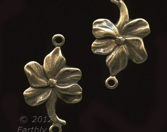 Oxidized stamped brass daisy 2-ring connector.20x12mm. Pkg. of 4. B9-0825(e)