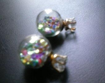 Two, sided,cubic circonia, confetti ,pierced,earrings