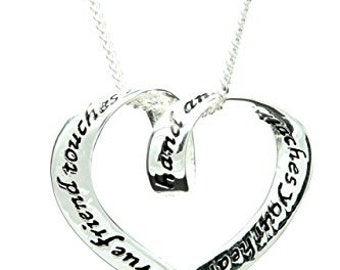 "Sterling Silver ""A True Friend Touches Your Hand and Reaches Your Heart"" Necklace"