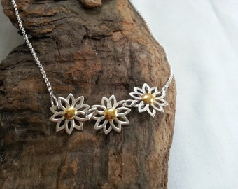 Sterling Silver Three Daisy Flowers Gold Plated Centres Necklace