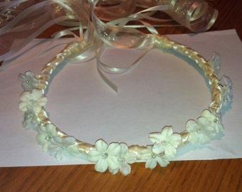 Flower Crown - Bridal Bridesmaid Flower Girl Head Wreath Floral Ribbon Hair Halo Head Piece Wreath Garland C-Shirley
