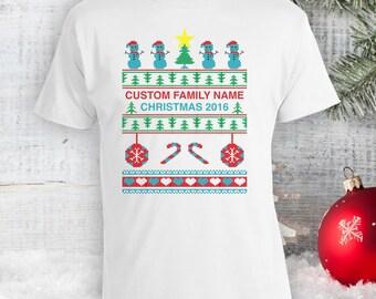 Custom Family Name Tee - Ugly Christmas Shirt, Ugly Christmas Jumper, Merry Christmas Xmas Sweatshirt Christmas Sweatshirt Bodysuit CT-802