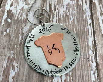Personalized Baby's First Christmas Christmas Holiday Ornament - Copper  - Custom - Baby - Annoucement - 1st Christmas - Birth Weight - Gift