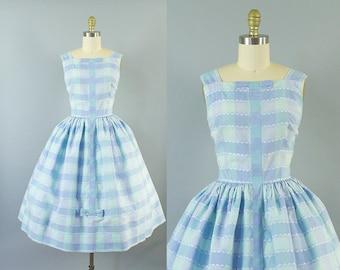 1950s gingham sundress/ 50s cotton pastel bow dress/ medium