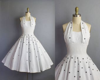 1950s halter sundress/ 50s rhinestone studded white cotton dress/ medium (36b/28w)
