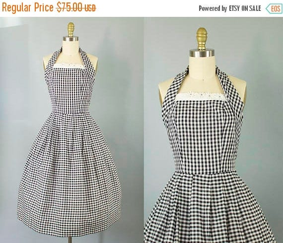SALE 15% STOREWIDE 1950s gingham cotton sundress/ 50s black and white halter with floral detail/ medium