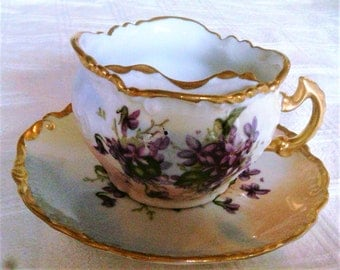 Vintage Fine China Moustache Cup and Saucer With Violets And Gold Trim