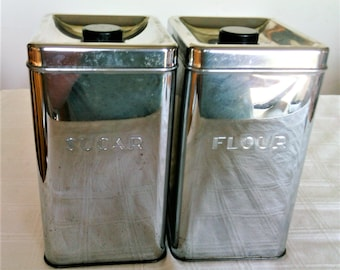 Vintage  Rectangular Chrome Flour And Sugar Canister Set