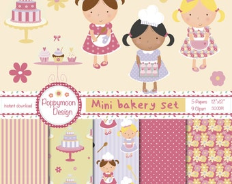 Bakery mini set, printable digital clipart and paper pack.