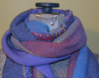 lavender and muilt color cotton yarn with novelty yarn hand woven scarf