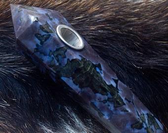 107g Natural Crystal Stone Gabbro Tobacco Pipe