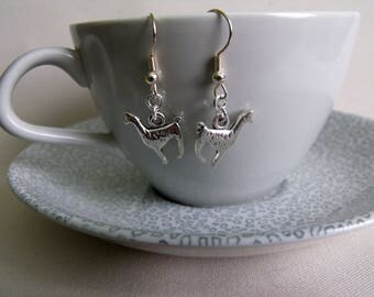 Silver plated llama earrings