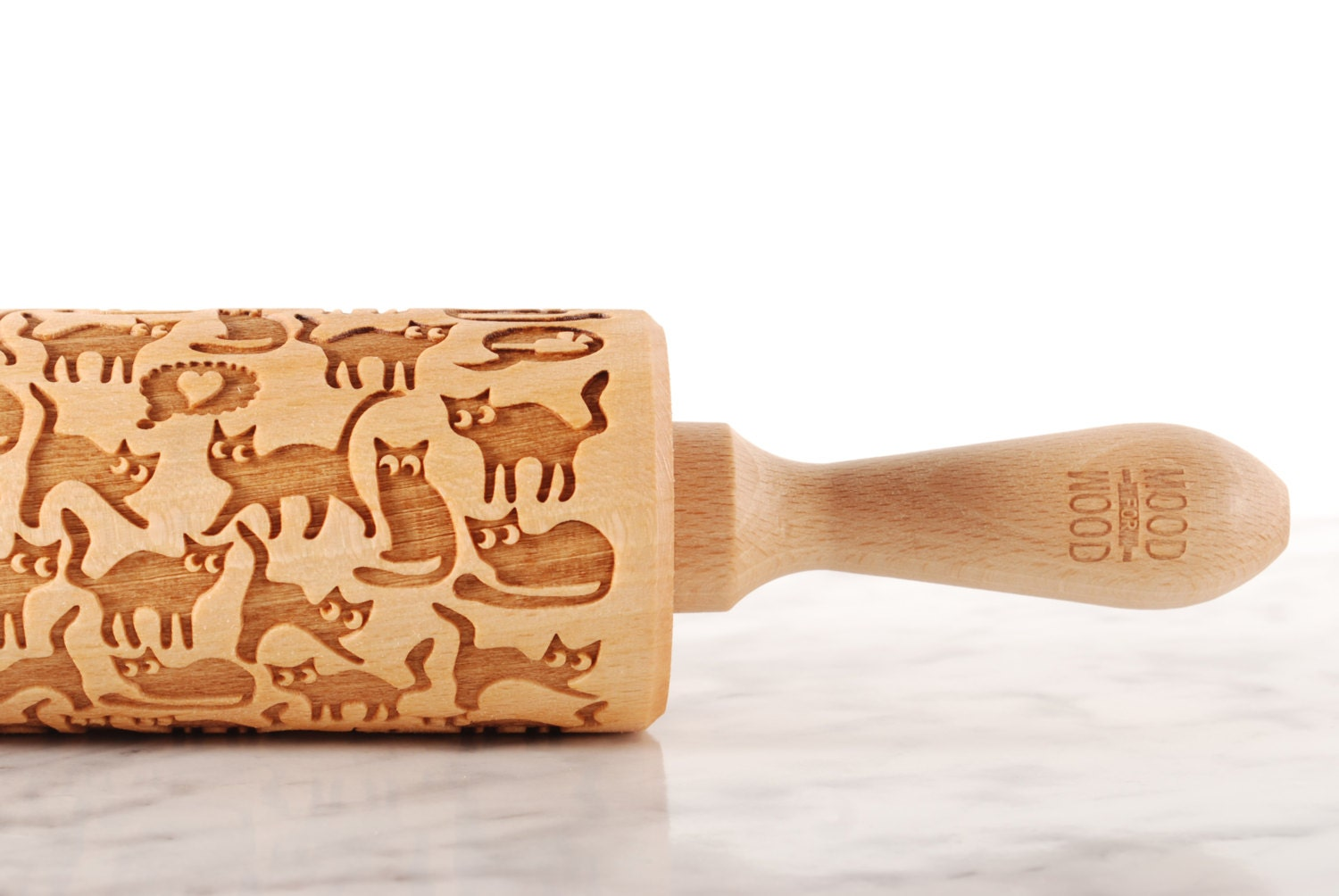 Rolling pin ornament - Funny Cats Embossed Engraved Rolling Pin For Cookies