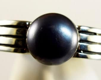 Pearl Gray Art Deco Ring