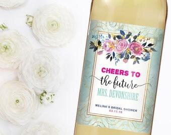 Wedding Wine Label - Custom Wine Label - Personalized Wine Label - Wedding Wine Bottle Label - Bridal Shower Wine - Cheers To The Future