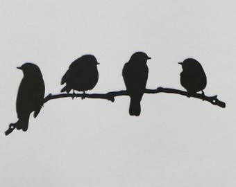 "Birds on Branch 2 - Small 12"" - Metal Wall Sign - (DD14---)"