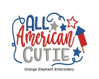 All American Cutie 4th Of July Unique Urban Machine Embroidery Design digital File