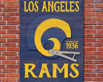 Los Angeles Rams - Vintage Helmet - Art Print - Perfect for Mancave