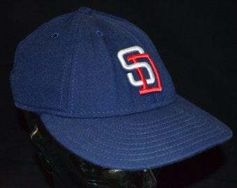Retro New Era San Diego Padres Low Profile Baseball Cap Hat (7 3/8)