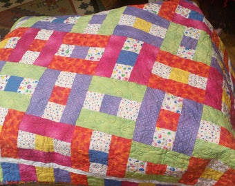Baby  Quilt..Patch Work..Hand Made..42x49 Inches..