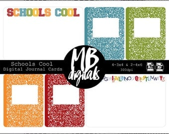 SCHOOL Journal Cards, Schools Cool, abcs, composition, red, orange, blue, green, printable cards, INSTANT DOWNLOAD