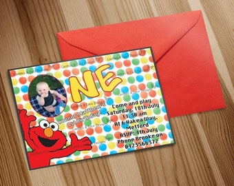 """Printed Elmo Birthday Invitation """"Plus FREE Thank You Card"""" Printed by Professional Printer. Also available as a Digital JPEG file!"""