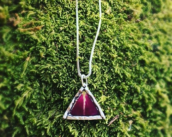 Natural Rose petal sterling silver triangle pendant necklace , personalized handstamped custom Memorial , RIP , dried flower resin necklace
