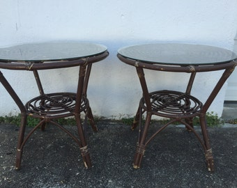 Vintage Bamboo end tables (2)
